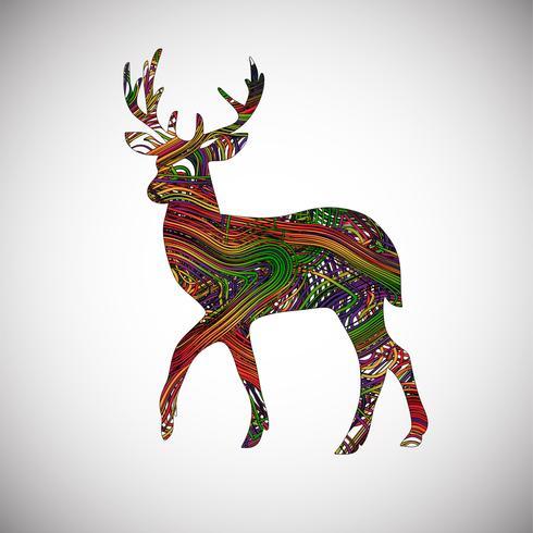 Cervos coloridos feitos por linhas, ilustração vetorial