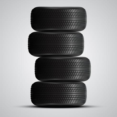 Neumáticos realistas, ilustración vectorial