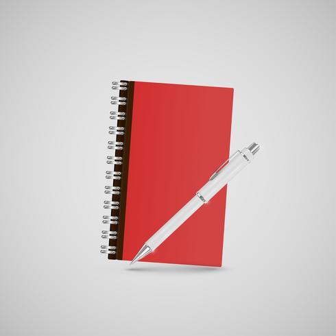 Het realistische notitieboekje van het bureaupictogram, voor Web, vector