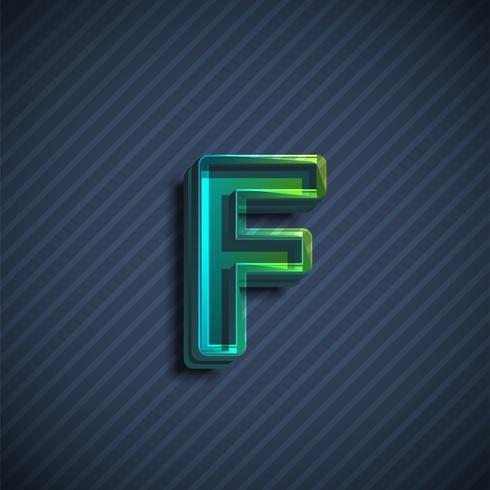 Glassy 3D font character, vector illustration