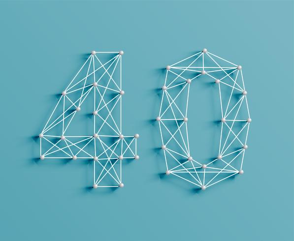 A number made by pins and lines, 3D and realistic, vector