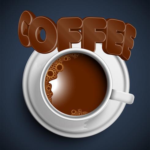 Una taza de un café caliente realista, vector