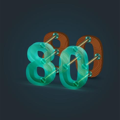 Nummer gemaakt door glas en hout, vector