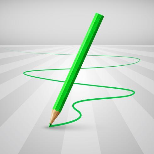 Lápiz de madera realista sobre un fondo blanco, ilustración vectorial