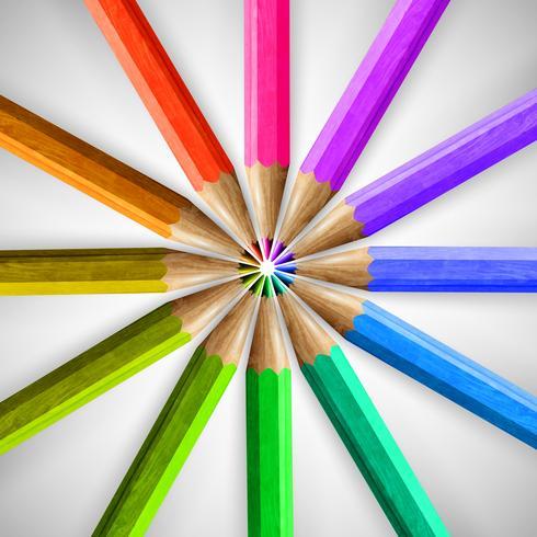 Lápis coloridos de madeira realistas, vetor