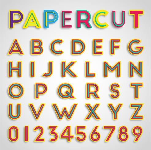 Papercut font with numbers, vector
