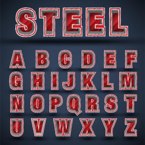 3D red steel font set, vector