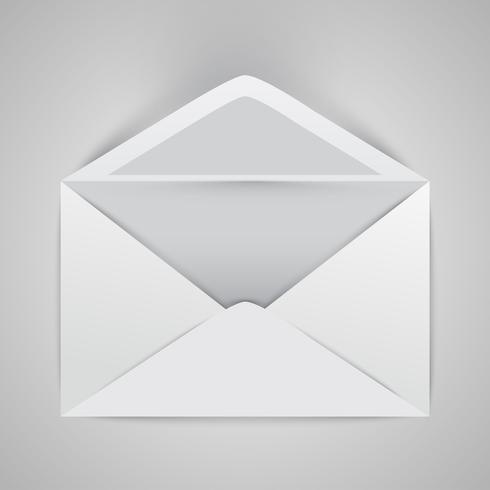 Envelope aberto realista, ilustração vetorial