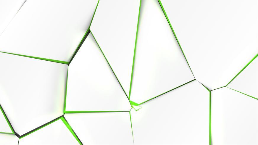 Gebroken oppervlak met groene kleur aan de binnenkant, vectorillustratie