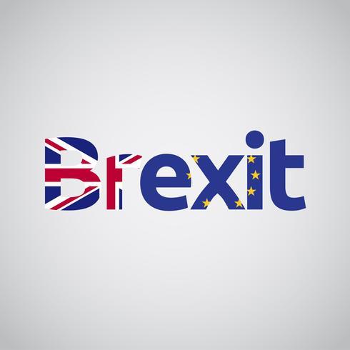 Brexit-tekst met Britse en EU-vlaggen, vector