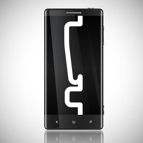Telefone blindado preto com um ponto de exclamação, vetor