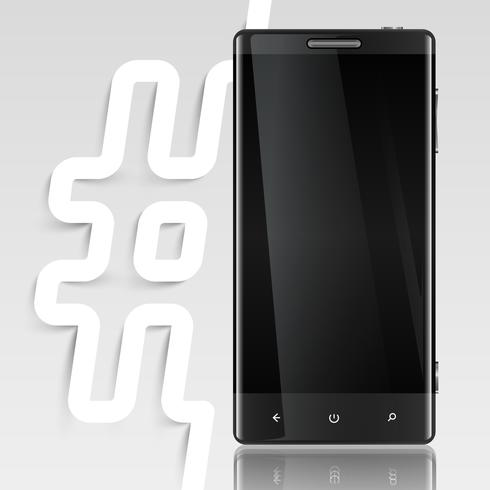 Black screened phone with a hashtag, vector