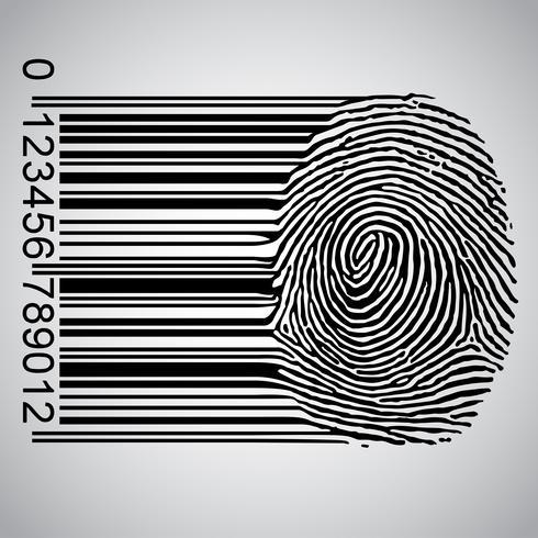 Code à barres devenant empreinte digitale, illustration vectorielle