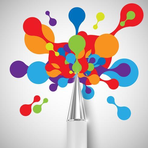 En penna med färgglada former, vektor