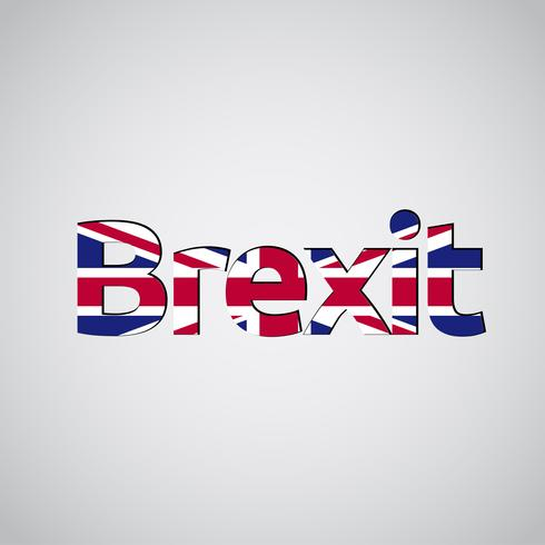 Brexit text with UK flag, vector