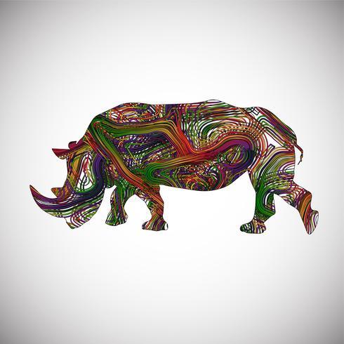 Colorido rinoceronte hecho por líneas, ilustración vectorial