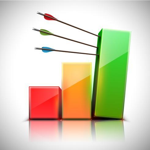Grafico 3D con le frecce, illustrazione vettoriale