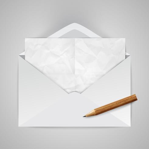 Enveloppe réaliste avec un crayon, illustration vectorielle