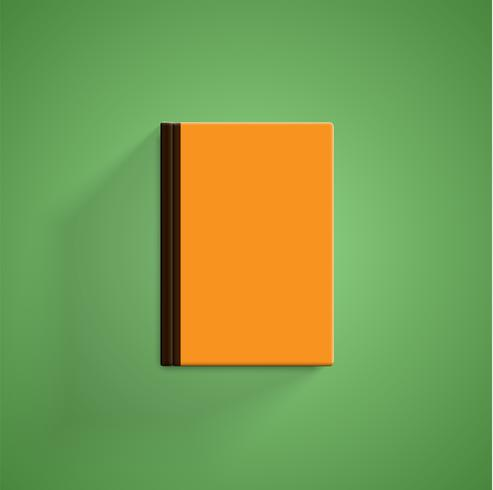 Realistic colorful book with green background and shadow, vector illustration