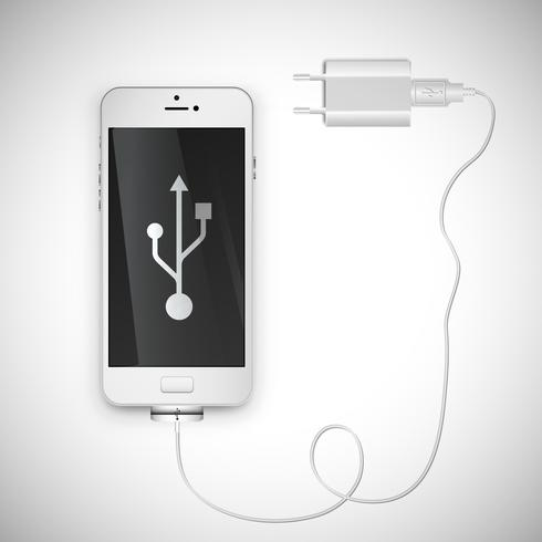 Realistic smartphone with wire, vector illustration