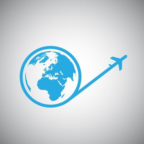 Viajar por el icono del plano mundial