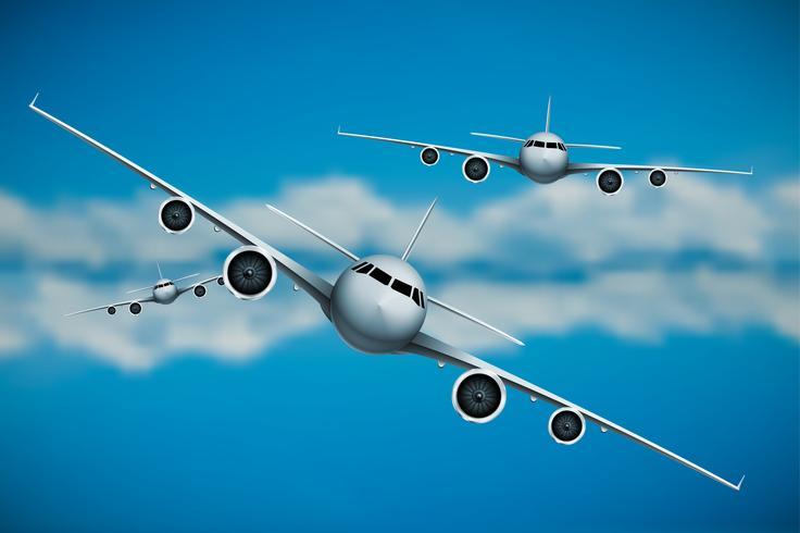 Três, vetorial, aviões