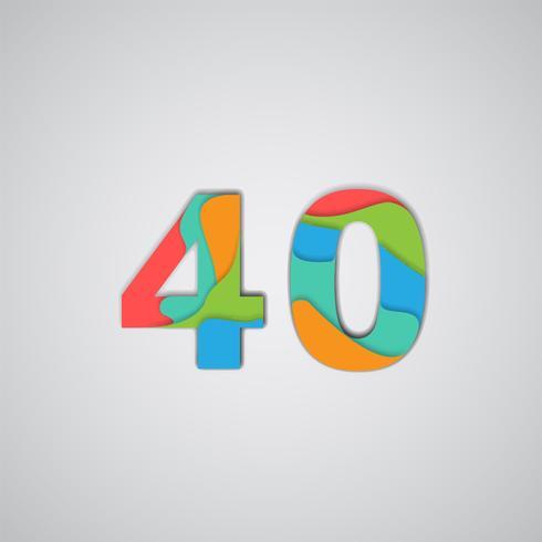 Papercut coloré en couches nombre, vector