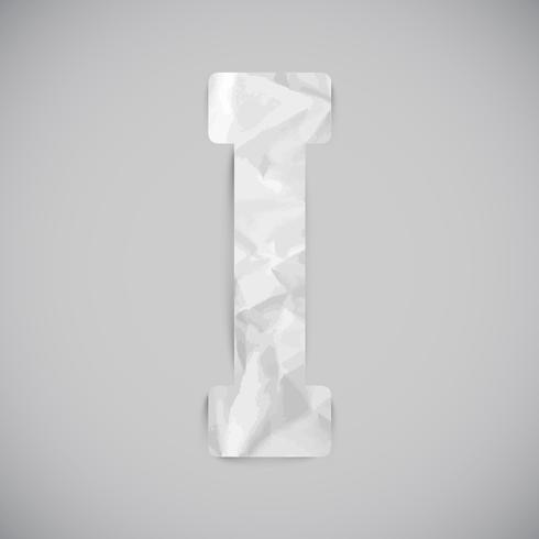 Buchstabe gemacht durch zerknittertes Papier mit Schatten, Vektor