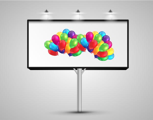 Panneau d'affichage avec des ballons, illustration vectorielle