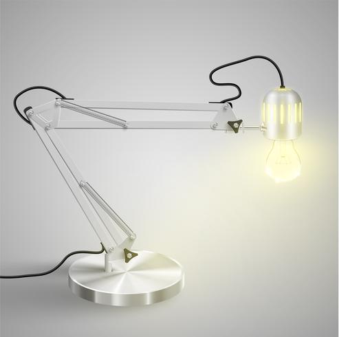 Realistische metalen tafellamp, vector