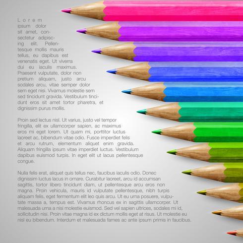 Modèle avec des crayons réalistes, illustration vectorielle