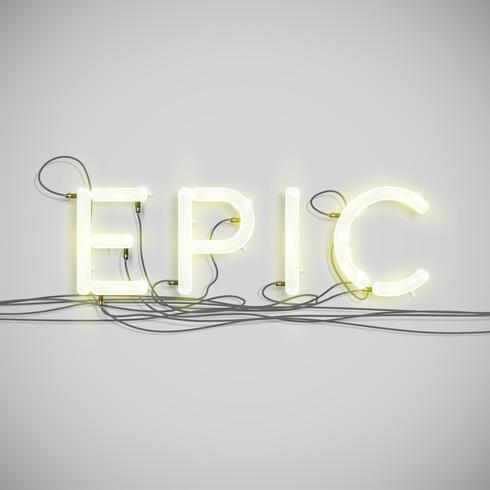 Type de mot électrique néon, illustration vectorielle