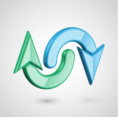 Flechas realistas en 3D, ilustración vectorial