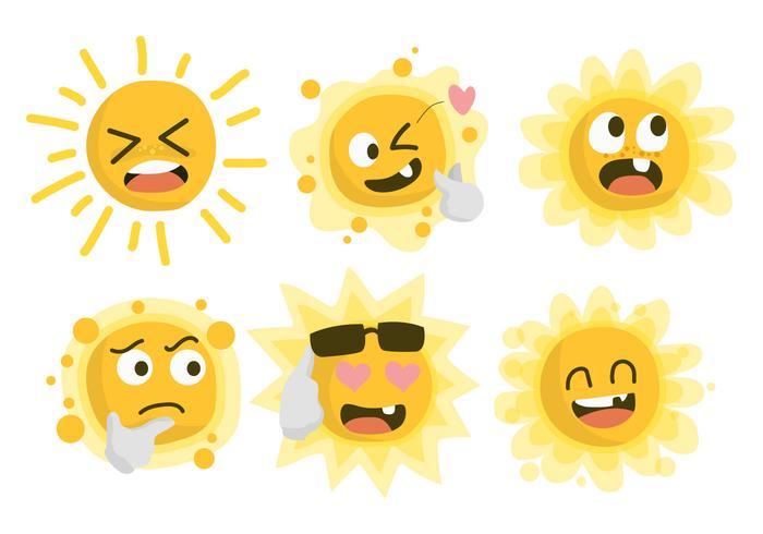 Divertidos personajes del sol clipart vector ilustración