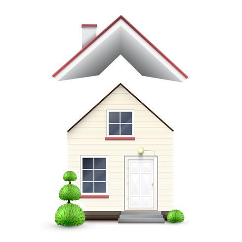 Casa realista con techo volador, vector