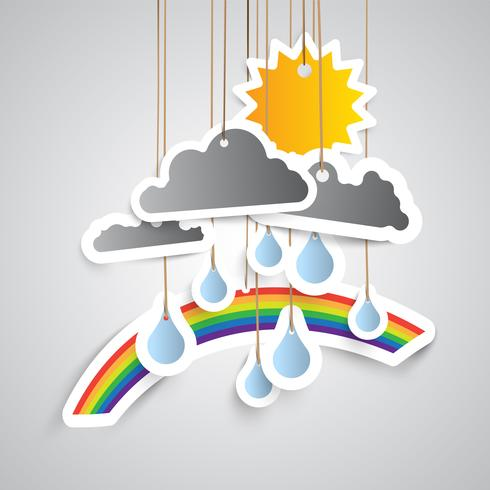 Weather icon made by paper, vector illustration