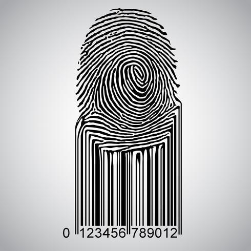 Fingerprint becoming barcode, vector