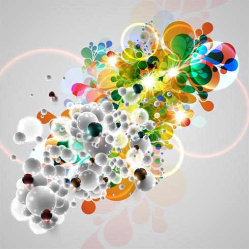 Fondo de burbujas coloridas y blancas, vector