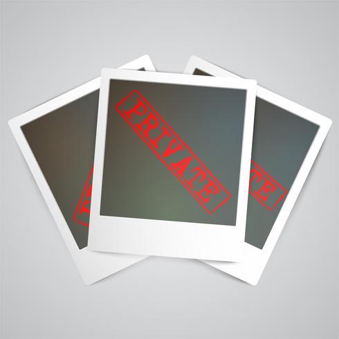 Een fotogrif met een waarschuwingsbord, vector