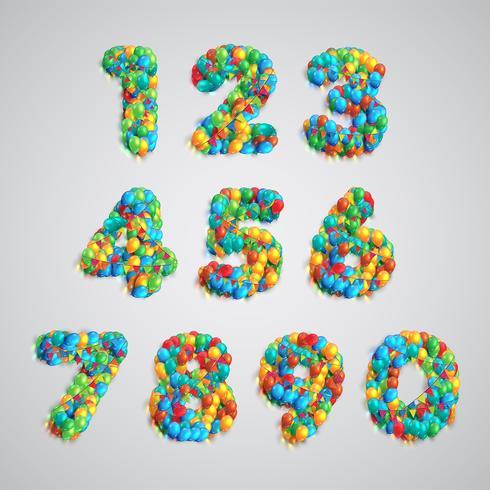 Conjunto de números hecho por globos de colores, vector