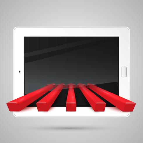 Tablet and red arrows, vector