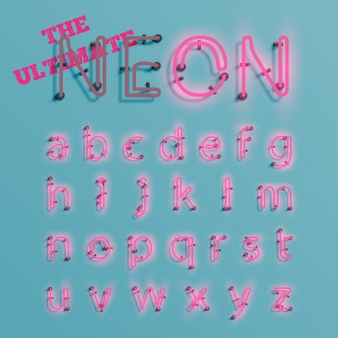 Il carattere al neon rosa realistico ha composto, vettore