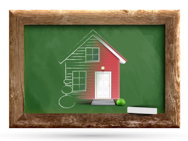 Casa realista que se dibuja en una pizarra, vector