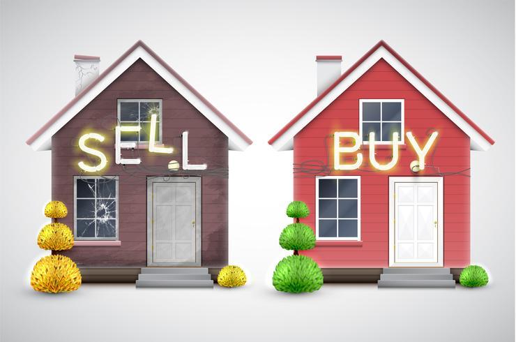 Una casa antigua para vender y una nueva para comprar, vector