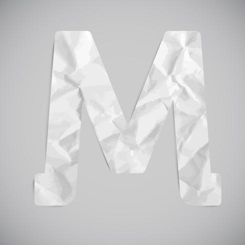 Brief gemaakt door verfrommeld papier met schaduwen, vector