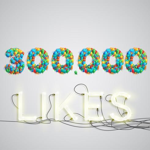 Aantal likes gemaakt door ballon, vector illustratie