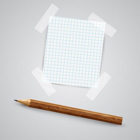 En bit papper med en penna, vektor