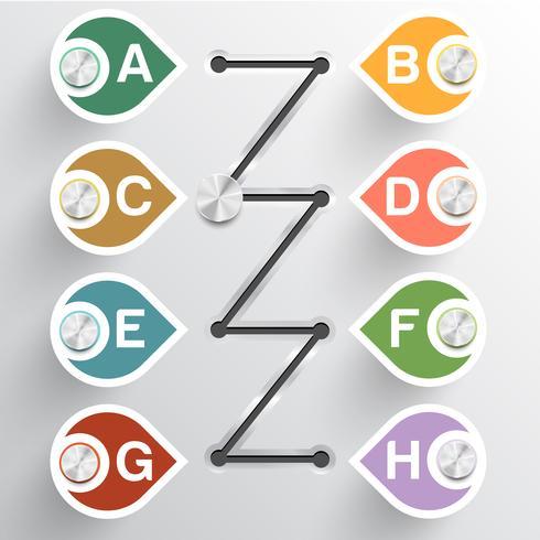 Abstrakt alfabetisk infografisk papper illustration