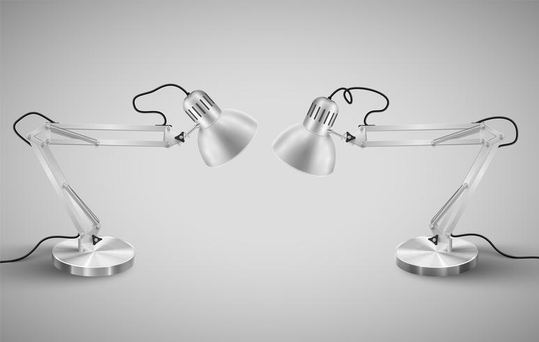 Realistic metal table lamps, vector