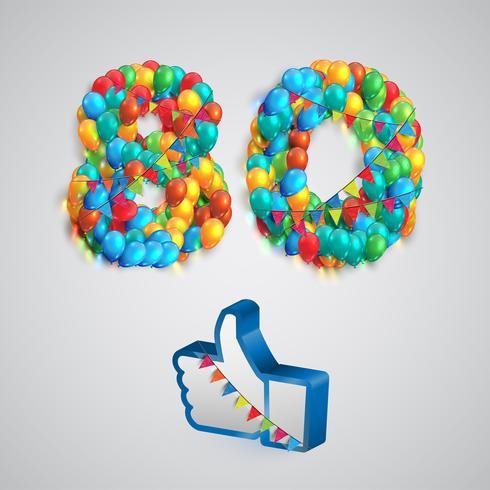"""Numero di """"Mi piace"""" fatto da palloncino, illustrazione vettoriale"""